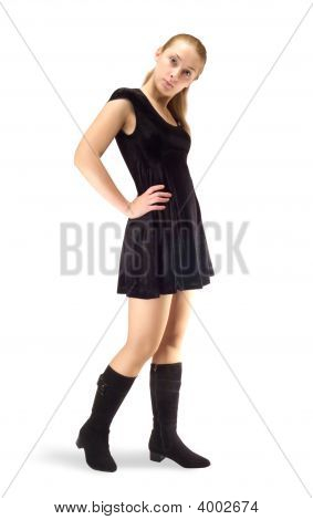 Standing Girl In Black Velure Dress And Shoes