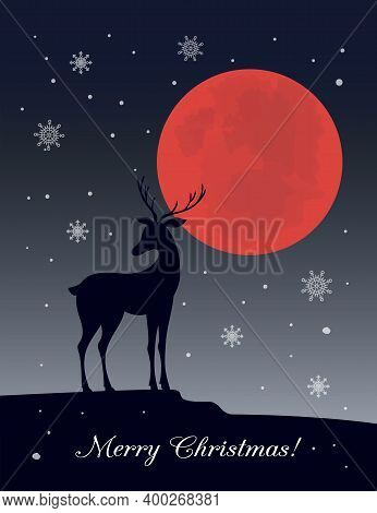 Black Deer Silhouette With Red Moon, Snowflakes And Text Merry Christmas. Cartoon Illustration For B