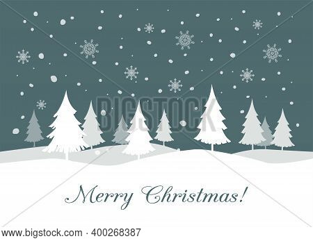 Fir Tree Silhouette With Snowflakes And Text Merry Christmas. Cartoon Illustration For Background, B