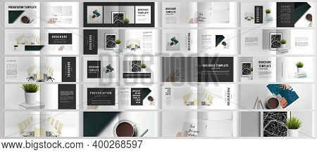 Vector Layouts Of Horizontal Presentation Design Templates For Landscape Design Brochure, Cover Desi