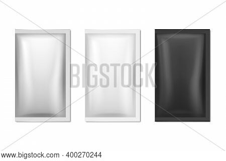 Vector 3d Realistic Foil, White, Black Long Slim Blank Packaging Set Isolated On White. Coffee, Tea,