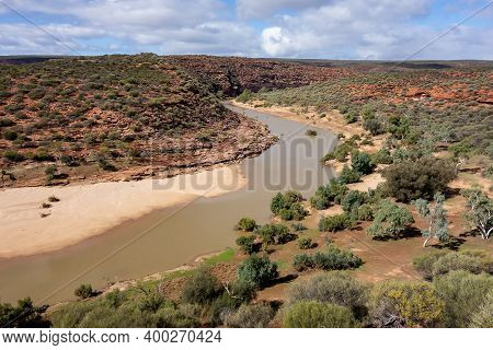 Landscape Of Valley And Bush With Murchison Riven In Kalbarri National Park Viewed From The Famous N