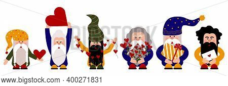 Happy Six Gnomes Are Preparing For The Celebration. Brightly Dressed Gnomes Are Wearing Colored Hats