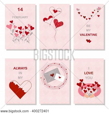 Set Of Valentines Day Greetings Cards With Hearts. Bouquet Of Hearts, Mail Letters And Birds Which A