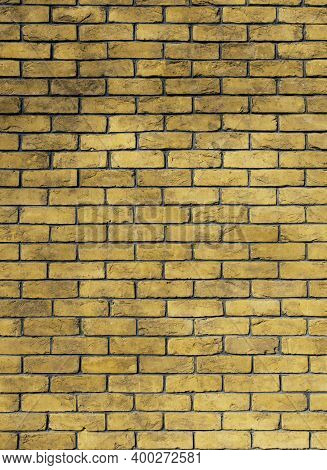 Trendy Yellow Color Dirty Brick Wall Grunge Back Street Ghetto District Urban Background Textured Su