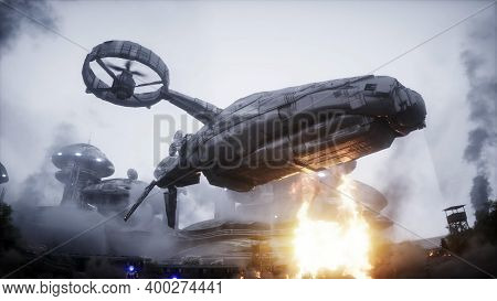 Futuristic Sci Fi Ship Take Wing. Military Robot. Apocalypse City. 3d Rendering.