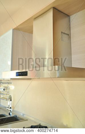 Inox Stainless Steel Hood In A Modern Kitchen, Electric Ventilation System In The Kitchen