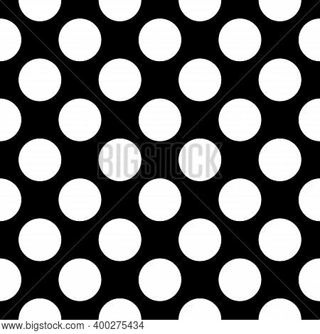 Seamless Pattern. Big Dots Wallpaper. Circles Ornament. Polka Dot Motif. Vector Image. Circular Figu
