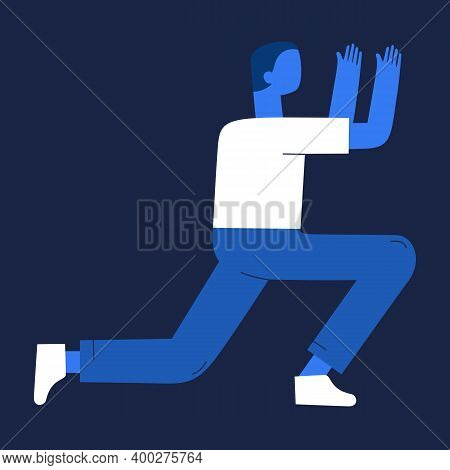 Flat Illustration Of A Girl. Girl In Different Body Positions. Illustration Of A Person In Flholds S