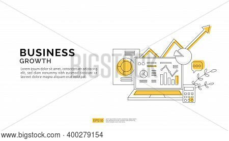 Business Growth Arrows To Success. Finance Stretching Rising Up. Return On Investment Roi Concept. D