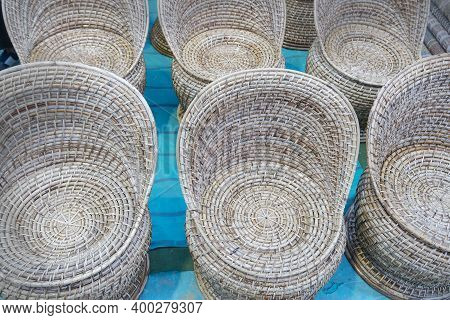 Wicker Chairs, Handicrafts On Display For Sale, At Handicraft Fair In Kolkata, West Bengal, India -