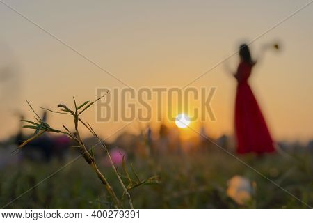 Silhouette Of Bengali Girl Playing Badminton At Kolkata Maidan With Setting Sun Background, Christma
