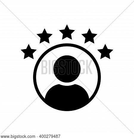 Customer Experience Vector Icon . 5 Star Satisfaction Rating  Vector Icon. Rating Icon. 5 Star Work