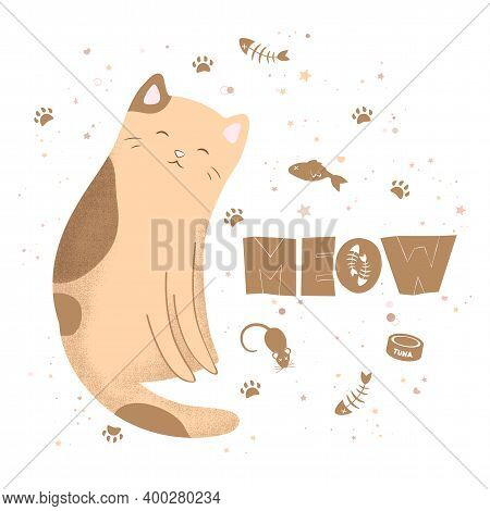 Vector Illustration With Cute Textured Cartoon Cat And Hand Drawn Lettering Meow Isolated On White B