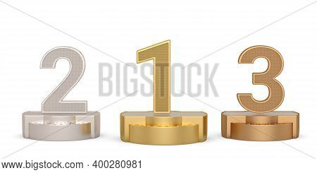 Numbers 1, 2, 3 (one, Two, Three) Of Different Colors Isolated On White Background, 3D Illustration