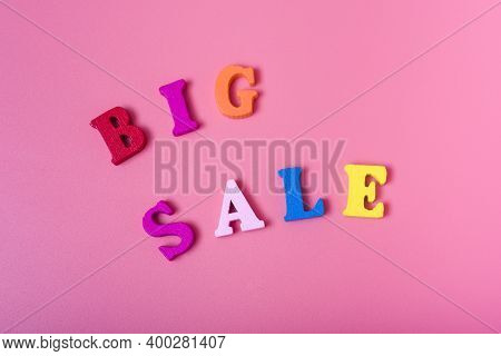 The Word Big Sale On A Pink Background.