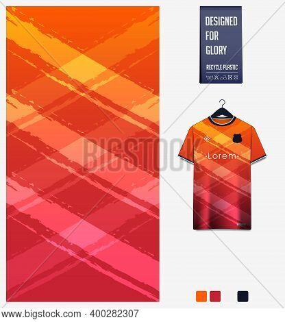 Fabric Pattern Design. Geometric Pattern On Orange Gradient Background For Soccer Jersey, Football K