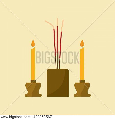 Flat Design Incense And Candles Are Worshipers In Buddhism Concept Vector Illustration. Eps 10