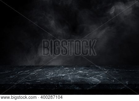 Empty Marble Stone Top Table Grunge Texture Background With Smoke Or Mist In Dark Background For Use