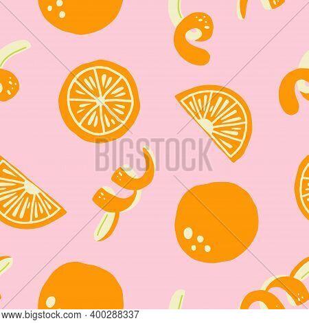 Orange Seamless Pattern. Exotic Tropical Mandarin Citrus Fruit, Juicy Slice Tangerine And Peel, Cart