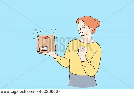 Positive Emotions From Delivery Concept. Young Smiling Woman Cartoon Character Holding Takeaway Pape
