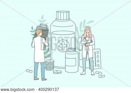 Pharmacy Shop Concept. Young People Doctors Pharmacists Working Between Drugs Bottles And Jars And V