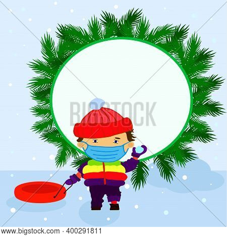 Winter Tube, Children, Snowball, Frame For Text
