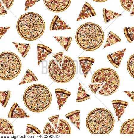 Seamless Pattern With Assorted Pizza, Whole Pizza And Pizza Slice. Hand-drawn Watercolor Illustratio