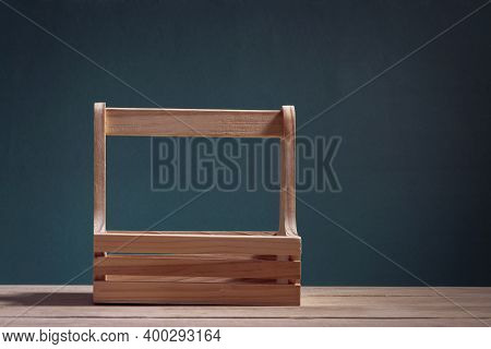 Empty Basket Isolated With Copy Space Isolated On Vintage Background
