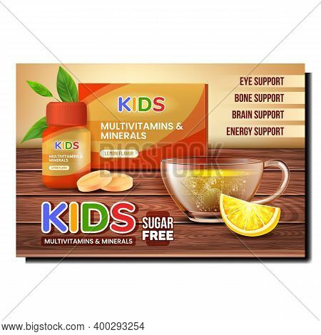 Kids Vitamins Creative Promotional Poster Vector. Kids Multivitamins And Minerals Drugs Blank Packag