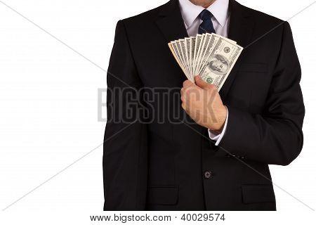 Businessman's hands holding money