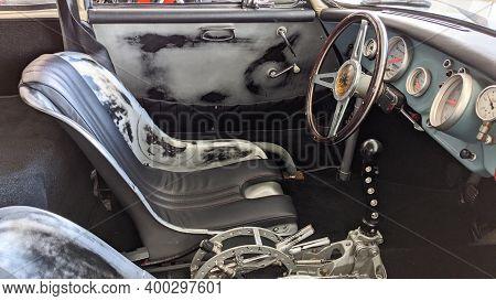 Bordeaux , Aquitaine  France - 20 15 2020 : Porsche 356 Replica Interior Of Racing Outlaw Vintage Ca