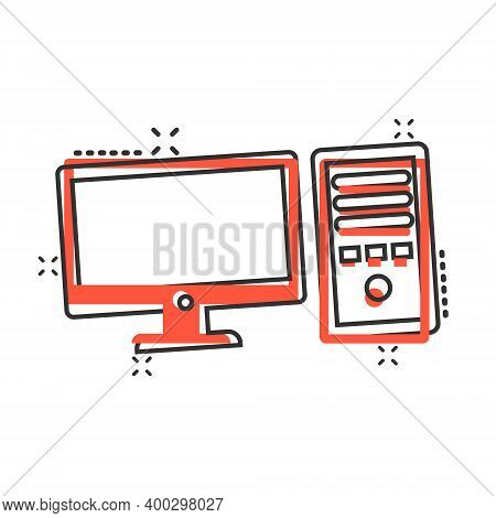 Pc Computer Icon In Comic Style. Desktop Cartoon Vector Illustration On White Isolated Background. D