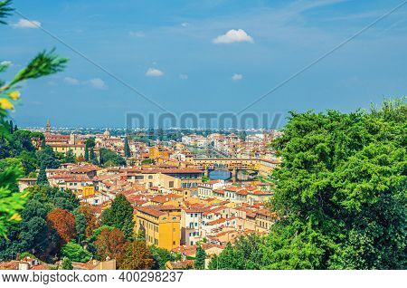 Top Aerial Panoramic View Of Florence City Historical Centre With Ponte Vecchio Bridge Over Arno Riv