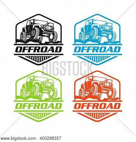 Monochrome Off-road Car Suv Template For Labels, Emblems, Badges Or Logo.eps 10
