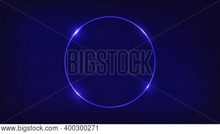 Neon Circle Frame With Shining Effects On Dark Background. Empty Glowing Techno Backdrop. Vector Ill