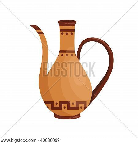 Ancient Greek Clay Amphora With Spout And Handle Vector Flat Illustration. Antique Grecian Vase Deco
