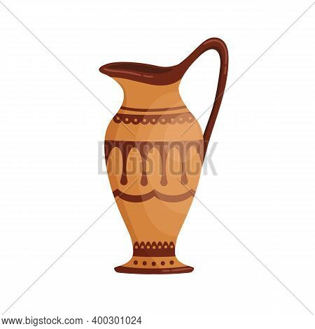 Greek Pottery Jug Decorated By Hellenic Ornaments Vector Flat Cartoon Illustration. Traditional Anti
