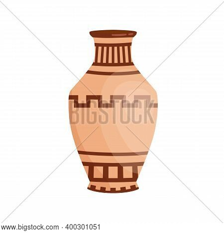 Traditional Colorful Greek Vase Decorated By Hellenic Ornaments Vector Flat Illustration. Antique Am