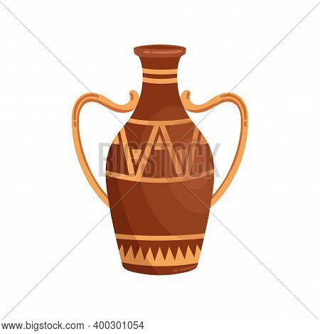 Greek Amphora With Handles Vector Flat Illustration. Ancient Clay Vase With Traditional Hellenic Orn