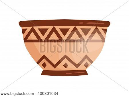 Ancient Grecian Clay Bowl. Antique Greek Handmade Vessel Vector Flat Illustration. Traditional Potte
