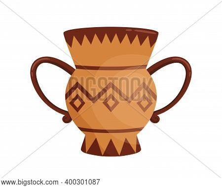 Ancient Handmade Greek Krater Vase With Handles Decorated By Hellenic Ornaments Vector Flat Illustra