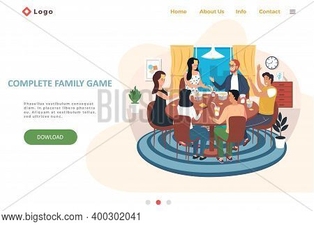 Complete Family Game Landing Page Template With Happy Family Or Friends Playing Game Guess Who I Am