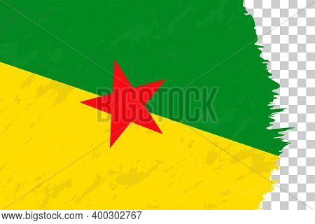 Horizontal Abstract Grunge Brushed Flag Of French Guiana On Transparent Grid. Vector Template.