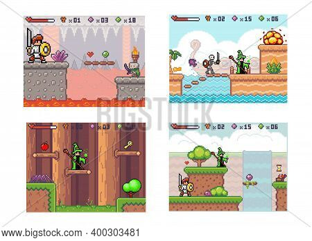 Set Of Illustrations On The Theme Of Knight Fighting Evil. The Wizard With The Main Character Go To