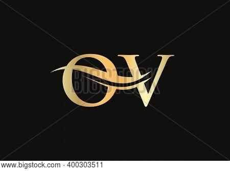 Premium Ov Letter Logo Design. Ov Logo For Luxury Branding. Elegant And Stylish Design For Your Comp