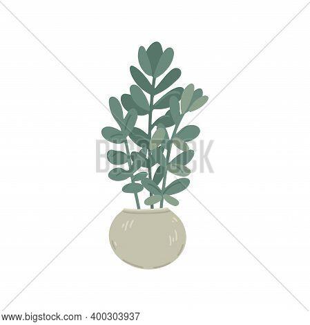 Flowerpot With A Plant, Indoor Plants, Decor Element, Interior Design, Floristry. Simple Cartoon Fla