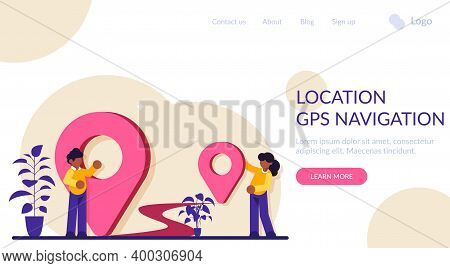 Location, Gps Navigation Modern Concept Illustration. Transportation Delivery, Map Location, Transpo