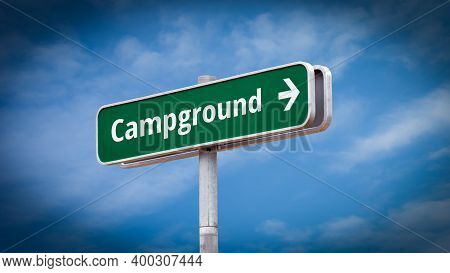 Street Sign The Direction Way To Campground