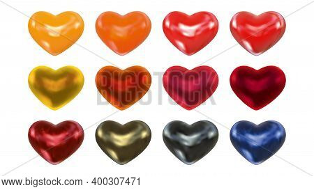Set Of Realistic Matte And Glossy Color Hearts For Valentines Day Isolated On White Background. Roma